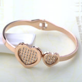 High-End Stainless Steel Jewelry Hollow Heart Bangle Diamond Bracelet