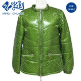 Fluorescent-Green Stand-Collar Long-Sleeve Zipper-Pockets fashion Ladies Coats