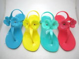 PVC Crytal Sandal with Flower Upper