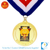 China Zinc Alloy Custom Gold Run Medal with Ribbon
