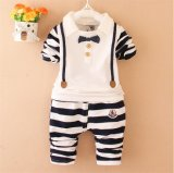 2015 Hotsale Spring Autumn Children Suits Two-Piece Long Sleeve Striped Suits with Bow and Button for Wholesale