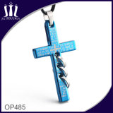 Op485 Blue Engraved Cross Pendant with 3 Rings