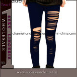 Wholesale Black Plus Size Women Ripped Legging (7826)
