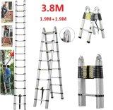 3.8m Telescopic Foldable Extendable Multipurpose Aluminium a Frame Ladder