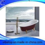 Brass Gold Plating Floor Standing Bathtub Faucet Rainfall Shower