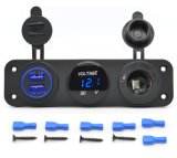 Auto Parts Waterproof Triple Function Dual USB Charger LED Voltmeter 12V Outlet Power Socket Panel Jack for Car Boat Marine Mobile Phone Tablet