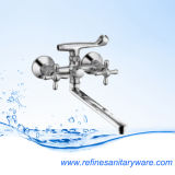 Single Lever Wall Mounted Bath Mixer New Chrome Polished High Quality Long Spout (R2041857C-30F-07-08Y)