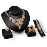 Exaggerated Alloy 4 PCS Set Multi Flower Statement Necklace Fashion African Golden Jewelry
