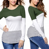 Fashion Women Leisure Casual Color Striped T-Shirt Clothes Blouse