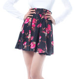 Fashion Women Leisure Casual Chiffon Printed Pleated Skirt