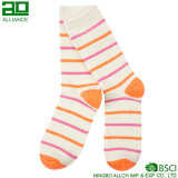 High Quality Stripes Orange Crew Women Socks