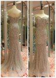 Top Sale EU 32-40 Heavy Beading Grey Sweetheart Evening Dress