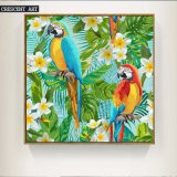 Cotton Canvas Oil Painting of Parrot and Gadenia
