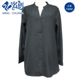 Dark-Green Long-Sleeve Stand-Collar Decussate Sexy Loose Blouse