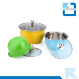 Multi-Color 3 Piece Stainless Steel Mixing Bowl Set with Lid
