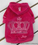 Promotional Juicy Brand Crown Rhinestone Iron Pet Hoodie Coat