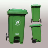 100 L Outdoor Garbage Collected Plastic Wheeled Pedal Opened Trash Can
