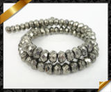 Stone Jewelry Iron Pyrite Faceted Rondelle Gemstone Beads (GB0102)
