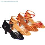 Women's Ballroom Dance Shoes in Satin, Made of Thicker and Softer Suede