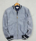 Jean Washing Baseball Jacket Clothes with Rib in Man Clothing Fw-8745