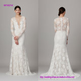 Long Sleeve V Neck Lace Wedding Dress