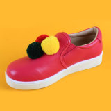 PU Leather Cute Ball Decoration Rose Kids Loafters Flat Shoes