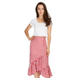 Women Lace Skirt Plaid Skirts Lining Elastic Waist Ladies Fashion Casual Skirt