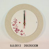 Wooden Vintage Wall Clock with Linen Background