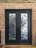 Iron Front Door with Reed Glass for House