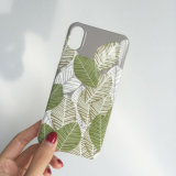 Fashionable Color Matching Leaf IMD PC Cell Phone Case for iPhone 8