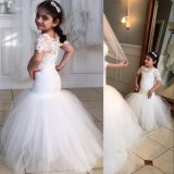 Customize Short Sleeve Lace and Tulle Mermaid Flower Girl Dress
