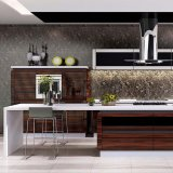 Home Furniture Brown Color High Gloss Lacquer Wood Kitchen Cabinet