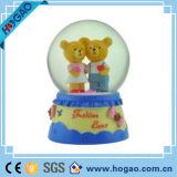 Bear with Eiffel on Books Snow Globe Ball Water