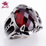 Stainless Steel Fashion Custom Jewelry Ring with Red Stone Gus-Stfr-027