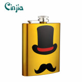 Yellow Mustache Series Whisky Stainless Steel Hip Flask