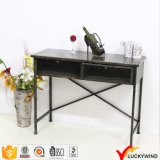 Antique Metal Black Console Table with Drawers