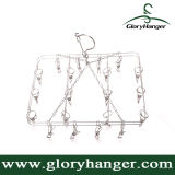 New Design Foldable Sock / Underwear Drying Metal Hanger with 20 Clips ((GLMH15)