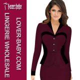 Elegant Red Wine Black Patchwork Long Sleeve Office Dresses L36079-2