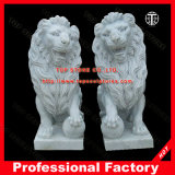 Hand Carved Marble Lion Statue for Home Decoration