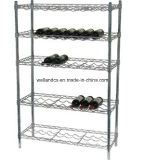 Top Quality 5 Tier Chrome Metal Wine Display Rack Manufacturer