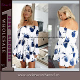 Wholesale off Shoulder Youth Cheap Summer Print Floral Sweet Dress (TONY0343)