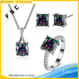 Promotional 18k Trendy Dazzle Cubic Zirconia Jewelry Set for Party