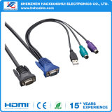HD15p M to HD15p M + USB Am VGA Cable