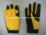 Mechanic Work Glove with Micro Fiber Palm Spandex Back -7204