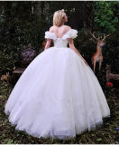 off-The-Shoulder Ruffles White Tulle Ball Gown Wedding Dress (Dream-100091)