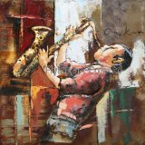 Retro 3 D Metal Painting for a Man Playing Saxophone