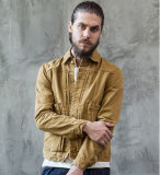 Custom Classic America Style Fashion Cotton Short Long Sleeves Leisure Khaki Men′s Jeans Jacket