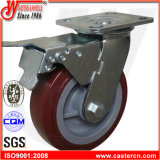 6X2 PU Wheel Heavy Duty Swivel Casters with Total Brake