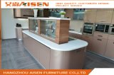 Champagne Color Metallic Lacquer Arc Shape Design Modern Kitchen Cabinet