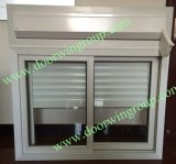 PVC Glass Window with Manual Blinds/Shutters for Container House, Slinding Sash Window with Single or Double Glazing Glass